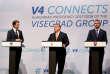 Le premier ministre hongrois, Viktor Orban (au centre), le chancelier fédéral autrichien, Sebastian Kurz (à gauche), et le premier ministre slovaque, Peter Pellegrini (à droite), lors d'une conférence de presse commune à Budapest, en Hongrie, le 21juin.
