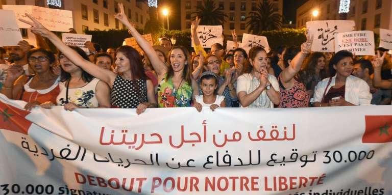 Une manifestation pour la défense des libertés individuelles à Rabat, au Maroc, le 6juillet 2015.