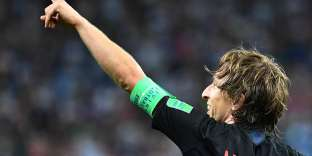 Croatia's midfielder Luka Modric celebrates after scoring their second goal during the Russia 2018 World Cup Group D football match between Argentina and Croatia at the Nizhny Novgorod Stadium in Nizhny Novgorod on June 21, 2018. RESTRICTED TO EDITORIAL USE - NO MOBILE PUSH ALERTS/DOWNLOADS