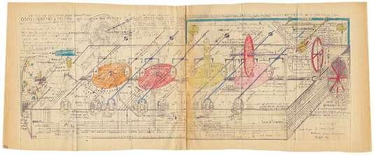 Sans titre (oscillogramme à friction),technique mixte sur papier (1965), de Jean Perdrizet.