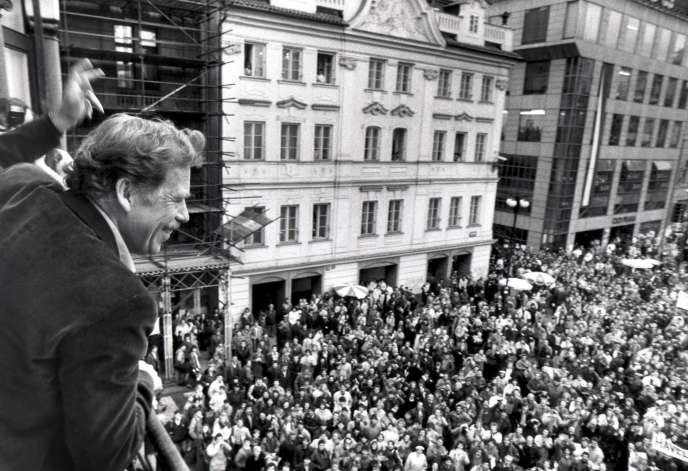 Vaclav Havel à Prague, le 19 décembre 1989.