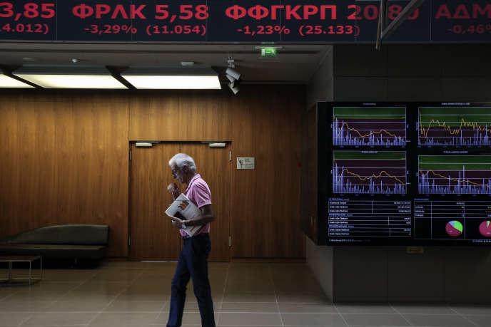 L'entrée de la Bourse d'Athènes, le 25 juillet 2017.