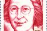 """«Parler d'une """"France éternelle"""", à célébrer et à défendre comme un bloc intangible, fermé à toute nouveauté, est une expression quasi blasphématoire pour Simone Weil« (Timbre à l'effigie de Simone Weil paru en 1979, dessin et gravure de René Quillivic)."""