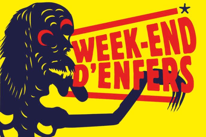 Détail de l'affiche du« Week-end d'enfers» au Musée du quai Branly-Jacques Chirac à Paris, les 23 et 24 juin 2018.