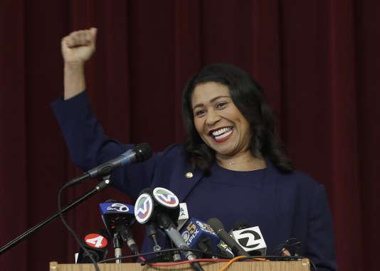La maire de San Francisco, London Breed, lors d'un discours à l'école élémentaire Rosa Parks de San Francisco (Californie ), le 14 juin.