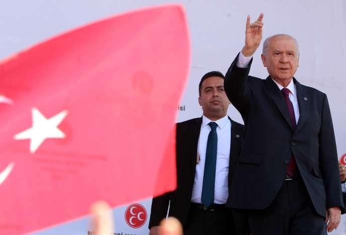 Devlet Bahçeli, le chefdu Parti d'action nationaliste (MHP), à Ankara, le 23 juin 2018.