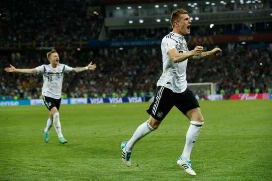 La joie des Allemands après leur victoire samedi soir face à la Suède.