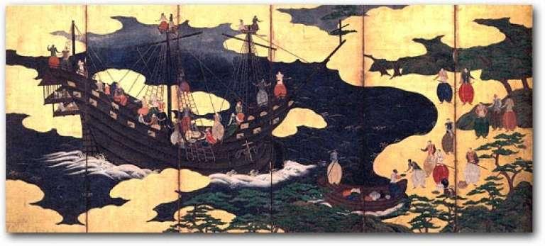 Arrivée au XVIIe siècle de bateaux étrangers à Nagasaki, ville japonaise située sur la côte nord-ouest de l'île de Kyushu.