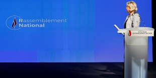 La présidente du désormais Rassemblement national, Marine Le Pen le 1er juin près de Lyon.
