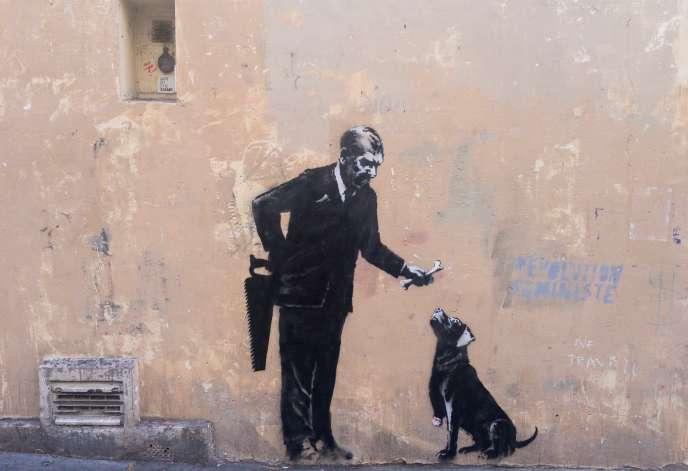 Une œuvre de Banksy dans le 5e arrondissement à Paris.