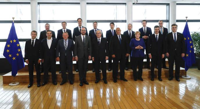 Les dirigeants européens présents à Bruxelles pour parler de la crise migratoire, le 24 juin.