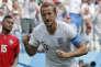 Harry Kane célèbre son deuxième but face au Panama, à Nijni Novgorod, dimanche 24 juin.
