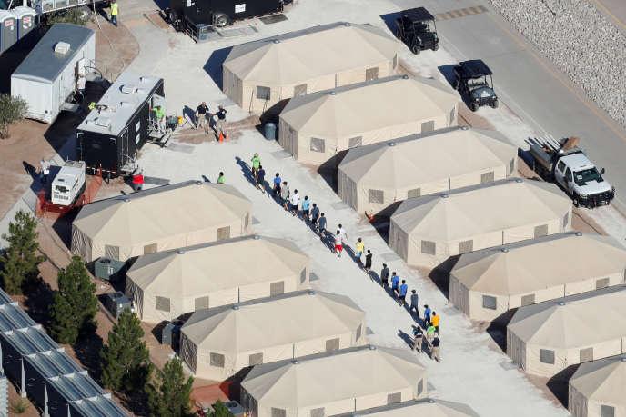 Près de la frontière mexicaine, des abris construits pour accueillir les enfants migrants, le 19 juin 2018.