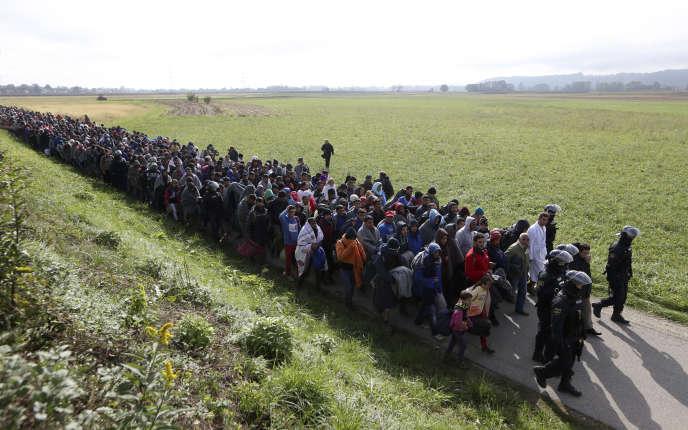 Un groupe de migrants guidé par des policiers près de Dobova, en Slovénie, le 20 octobre 2015.