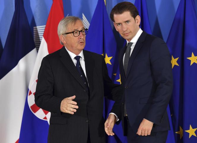 Jean-Claude Juncker et le chancelier autrichien, Sebastian Kurz, à Bruxelles, le 24 juin.