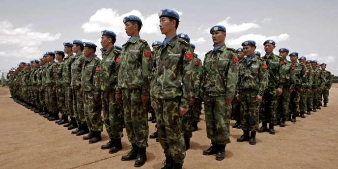 Des casques bleus chinois à Nyala, au Darfour (Soudan), en juillet 2008.