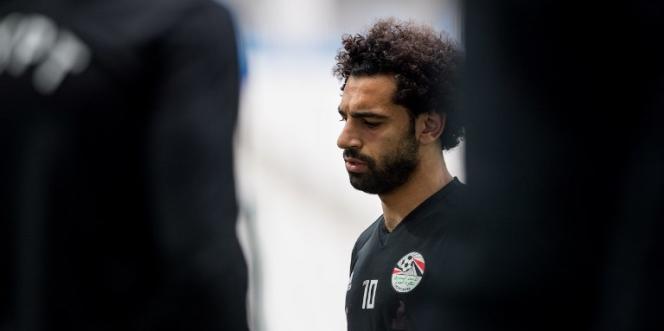 Mohamed Salah lors d'un entraînement de l'équipe égyptienne de football, à Volgograd, en Russie, le 24juin 2018.