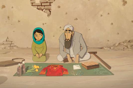 Parvana et son père Nurullah dans le film d'animation irlandais de Nora Twomey,«Parvana. Une enfance en Afghanistan».