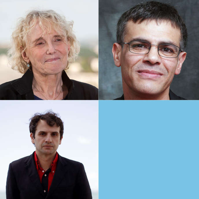 En haut à gauche, Claire Denis, à droite, Abdellatif Kechiche, et en bas, Serge Bozon.