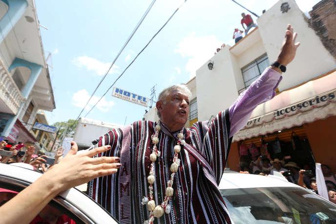 Andrés Manuel Lopez Obrador àTlapa de Comonfort (Mexique), 7 juin 2018, pendant la campagne présidentielle.