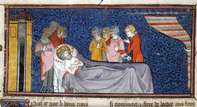 Mort de saint Louis. Miniature extraite des « Chroniques de France ou de Saint-Denis », XIVe siècle.