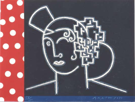 «Waldorf Astoria», 1989, lithographie d'Eduardo Arroyo.
