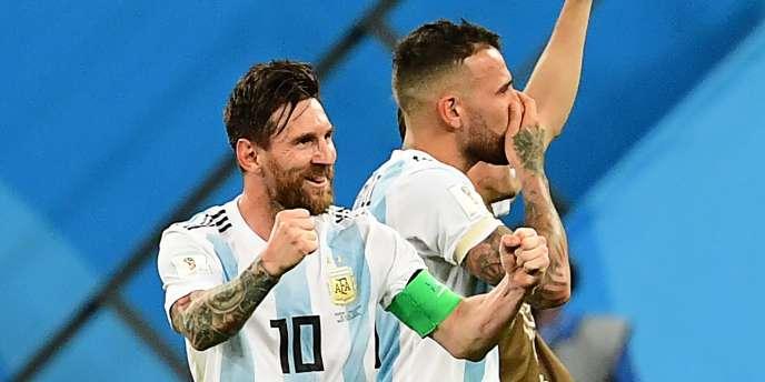 Lionel Messi célèbre son but contre le Nigeria, mardi 26juin.