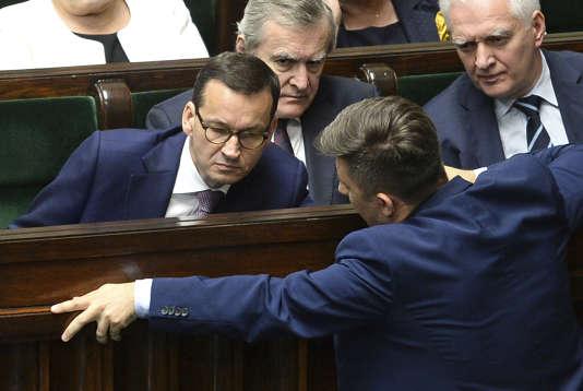 Le premier ministre polonais, Mateusz Morawiecki, le 27 juin à la Diète (le Parlement polonais).