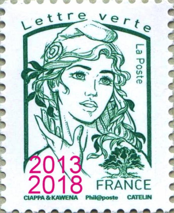 Le timbre« Lettre verte» à 0,80 euro a été vendu uniquement en feuilles de 100.