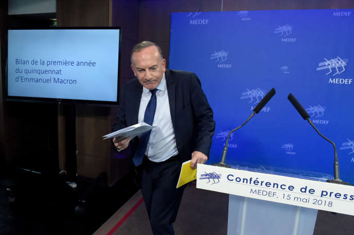 Pierre Gattaz, président du Medef, au siège de l'organisation patronale, à Paris, le 15mai.