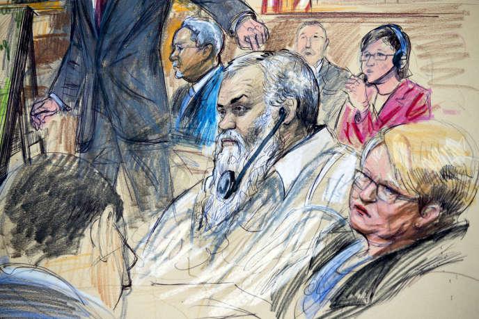 Croquis d'audience du premier procès d'Abou Khattala, en 2017.