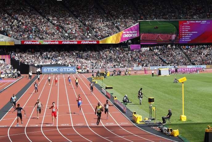 Le relais 4×100 m masculin, aux championnats du monde, en 2017, à Londres.