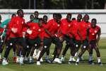 Les joueurs de l'équipe nationale du Sénégal dansent pendant un entraînement lors de la Coupe du monde 2018 en Russie, le 27 juin 2018.