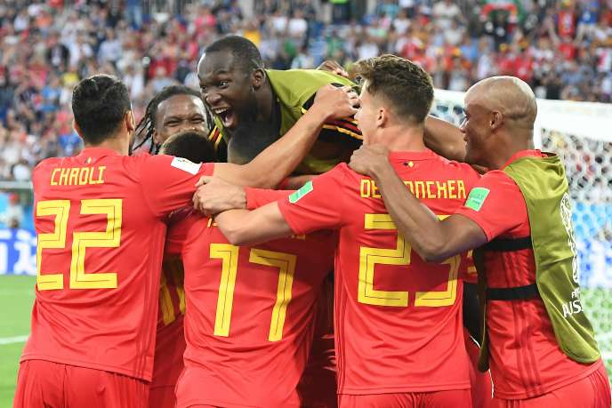 L'équipe belge après l'unique but du match,le 28 juin, à Kaliningrad.