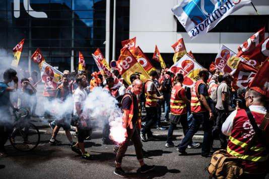 Manifestation de cheminots le 12 juin 2018, à Lyon.