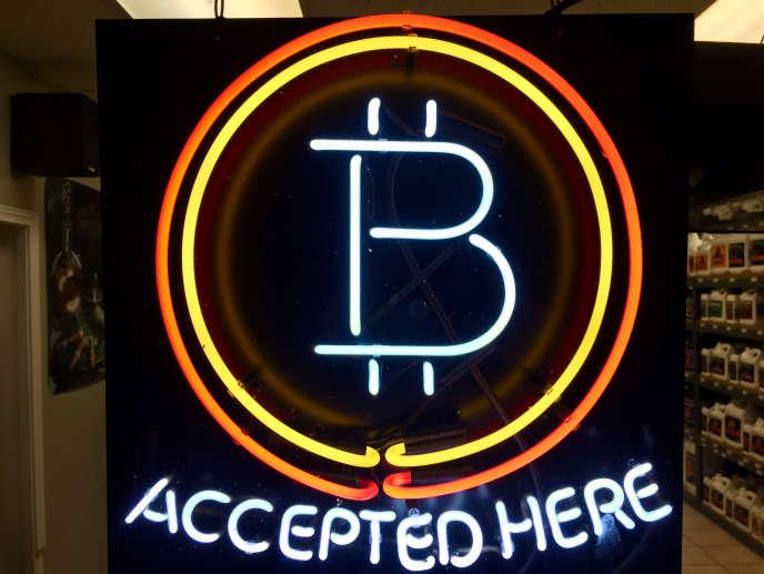 Un magasin acceptant les paiements en bitcoins dans l'Oregon, en février.