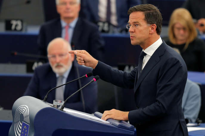 Le premier ministre des Pays-Bas, Mark Rutte, devant le Parlement européen, à Strasbourg, le 13 juin.