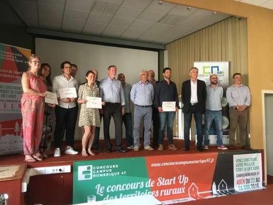 Les lauréats du premier« concours de start-up des territoires ruraux» organisé à Agen du 22 au 24juin 2018.