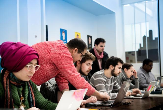 L'école « numérique» Simplon à Montreuil, Seine-Saint-Denis, en mars.