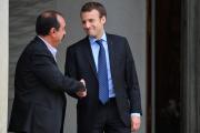 Le président de la République, Emmanuel Macron, et le secrétaire général de la CGT, Philippe Martinez, en octobre 2017.