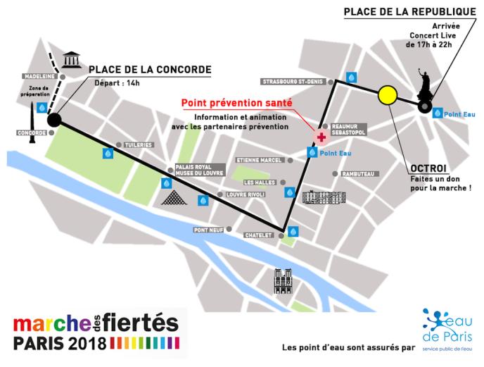 Le parcours de la Marche des fiertés 2018, à Paris.