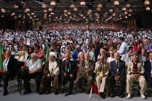 Lors du rassemblement de l'opposition iranienne ciblé par la tentative d'attentat, à Villepinte (Seine-Saint-Denis), le 30 juin.