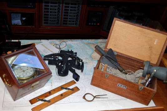 PPL PHOTO AGENCY - .Copyright free for editorial use only. PHOTO CREDIT: Barry Pickthall/PPL/GGR ***2018 Golden Globe Race. Traditional navigation equipment to be used by skippers in the GGR: Wind-up chronometer, sextant, paper charts, parallel ruler, protractor and trailing log, just as it was 50 years before for Robin Knox-Johnston and Bernard Moitessier. Electronics are banned including GPS, digital watches, iPods,  electronic autopilots and digital cameras. The Golden Globe Race starts from Les Sables d'Olonne on 1st July 2018