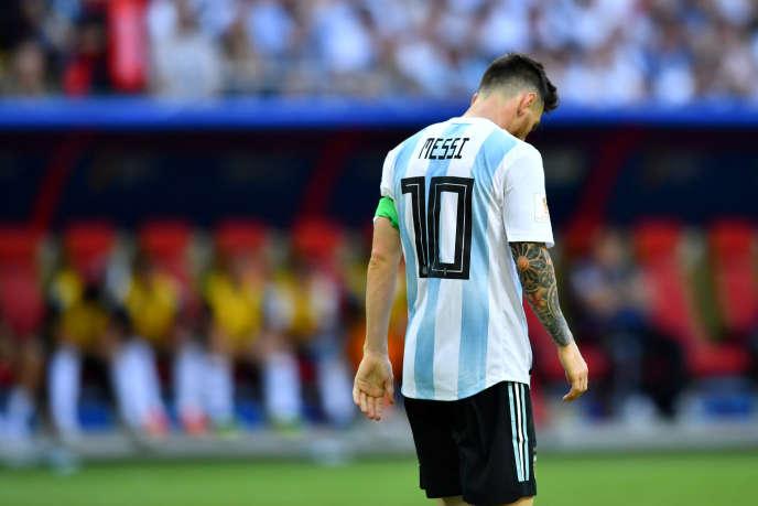 Lionel Messi après la défaite de l'Argentine face à la France, le 30 juin 2018 à Kazan.