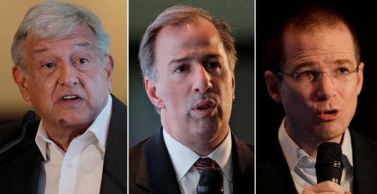 De gauche à droite : Andres Manuel Lopez Obrador, Jose Antonio Meade et Ricardo Anaya, sont les trois principaux candidats présidentiels.