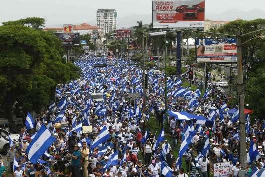Manifestationcontre le président Daniel Ortega à Managua, au Nicaragua, le 30 juin.