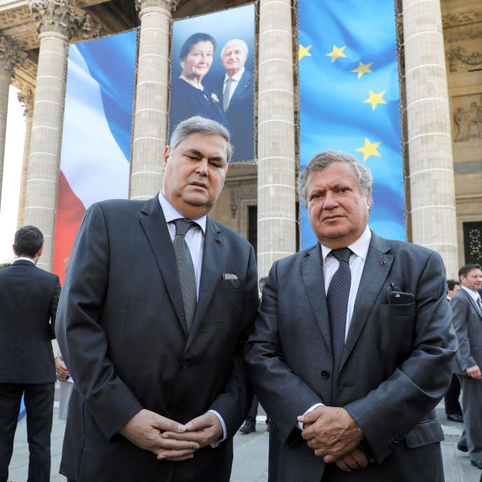 Pierre-Francois (à gauche) et Jean Veil, les fils de Simone Veil, le 1er juillet, à Paris.