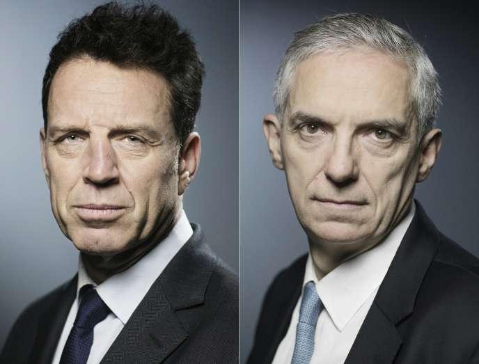 Les deux candidats finalistes à la présidence du Medef, Geoffroy Roux de Bézieux et Alexandre Saubot, en avril.