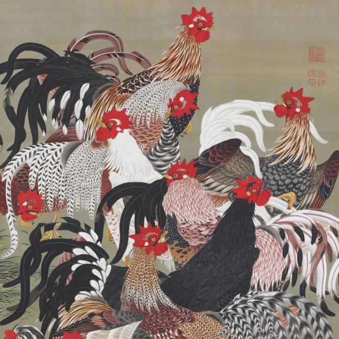 «Coqs» (avant 1765), du peintre Ito Jakuchu, est l'un des trentre rouleaux prêtés pour un mois à la France. Ils seront exposés au Petit-Palais à Paris.