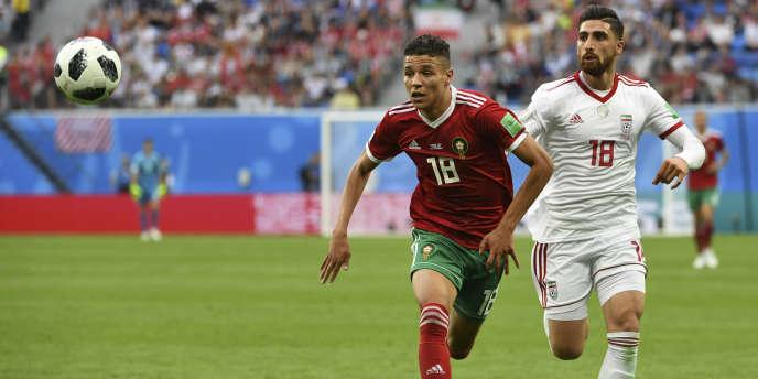 Amine Harit lors du match opposant le Maroc à l'Iran pour le Mondial 2018, le 15 juin 2018